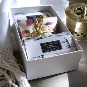 COUSSIN PARFUMÉ & 2 SAVONS ROSE